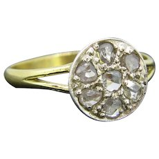 Antique Rose Cut Diamond Ring, 18kt Gold and Silver