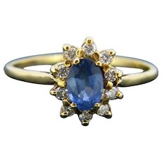 Vintage Sapphire Diamond Cluster Ring, 18kt Yellow Gold, France