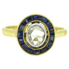 Vintage Rose cut diamond target ring, 18kt gold and platinum, circa 1930