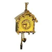 Vintage Cuckoo Clock Pendant Charm, 18kt Yellow Gold