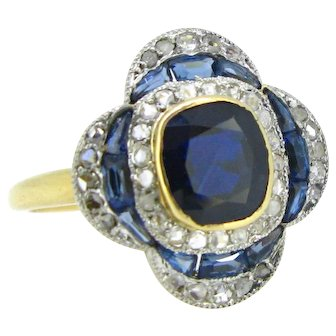 Vintage Sapphire and rose cut diamonds Flower ring, 18kt gold and platinum, France