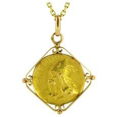 French Art Nouveau Gallic warrior medal, 18kt gold, circa 1900