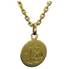 Antique Art Nouveau 13 Lucky Medal Pendant Charm 18kt Yellow Gold, France