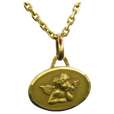 Vintage Cherub Oval Medal Pendant Charm 18kt Yellow Gold, France