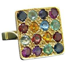 Vintage Multi Gemstones Ring, 18kt Yellow Gold, France