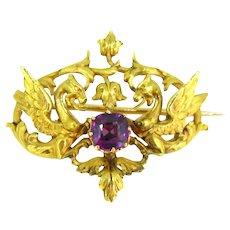 Rare Antique Art Nouveau Griffin Garnet Brooch, 18kt Yellow Gold