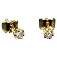 French Vintage Brilliant Cut Diamonds Studs, 18kt gold