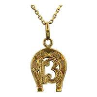 Antique 13 Lucky Horseshoe Pendant Charm, 18kt Yellow Gold, France