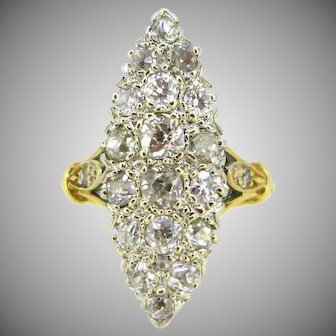 Vintage Marquise pave Diamonds ring, 18kt gold, circa 1950