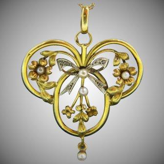 Antique Art Nouveau Natural Pearl & Rose Cut 18kt Yellow Gold, France