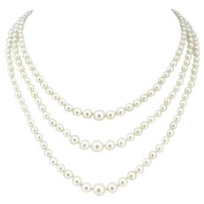 Vintage 3 Strands Cultured Pearls Necklace and Diamonds Clasp, France, circa 1950