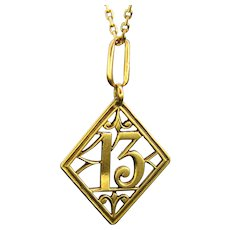 Early 20th century, Thirteen 13 Lucky Pendant Charm 18kt Yellow Gold