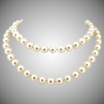 Antique Belle Epoque 9.10mm Cultured Pearls Diamonds Clasp Necklace, 18kt gold and platinum, circa 1915