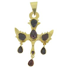 Antique Holy Dove pendant set with garnets, early 19th century