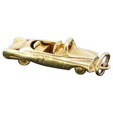 Vintage Car Pendant Charm, 14kt Yellow Gold