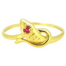 Victorian Snake Ruby Ring, 18kt gold, France