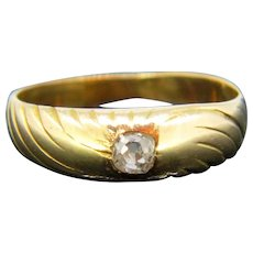 French Art Nouveau Gypsy Diamond Ring, 18kt Yellow Gold, circa 1900