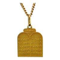 Vintage Tablets of Stones / 10 Commandments Pendant, 18kt Yellow Gold