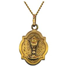 Early 20th Century Chalice Medal Pendant 18kt Rose Gold, France