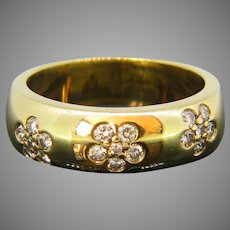 Vintage Gypsy Diamond Flowers Yellow Gold Ring, France