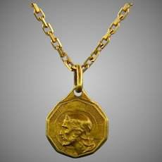 Vintage Italian Christ Dio ti Protega pendant/ medal, 18kt yellow gold
