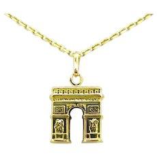 Vintage Arc de Triomphe French pendant/Charm, 18kt gold
