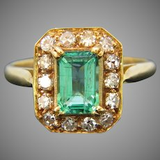 French Vintage Emerald and Diamonds Rectangular Cluster Ring, 18kt Yellow Gold