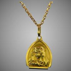 Vintage Italian Virgin Mary La Pieta Medal/Pendant, 18kt Yellow Gold