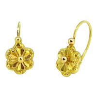 Dormeuses Yellow Gold Flowers Earrings, France