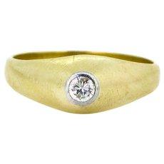 French GYPSY diamond ring, 18kt gold and platinum, circa 1940