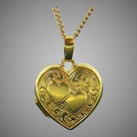 Vintage Heart Shaped Locket, 18kt Yellow Gold, France
