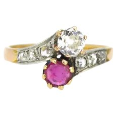 Antique Toi et Moi Crossover Ruby Diamond ring, circa 1910, 18kt gold and platinum, France
