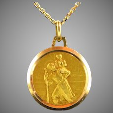 Vintage St Christophe Medal 18kt Yellow Gold, France, by Tricard