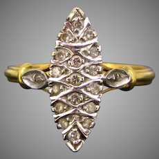 French Vintage Diamonds Marquise Ring, 18kt gold