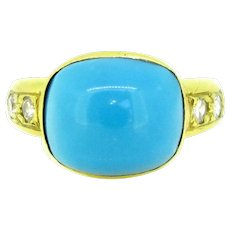 Natural Turquoise and Diamonds Yellow Gold Band Gyspy Ring