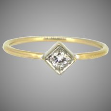 Vintage Diamond Solitaire Ring, 18kt yellow and white gold