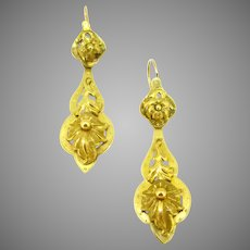 Victorian Dormeuses Dangling Day and Night Earrings, 18kt yellow gold, France, circa 1880