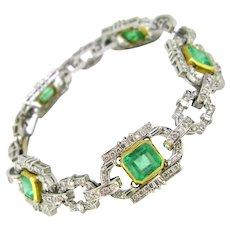 Art Deco Style Colombian Emeralds and Diamonds Links Fashion Bracelet