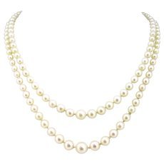 Vintage 2 rows Cultured Pearls Necklace 18kWhite Gold Clasp, France