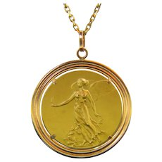 Vintage Victoria Victory Goddess Pendant, 18kt rose and yellow gold
