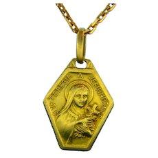 St Teresia A Jesu Infante, 18kt Yellow Gold, France, circa 1940