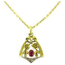 Antique Art Nouveau Ruby Diamonds Flowery Pendant, 18kt gold and platinum, France circa 1900