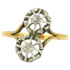 Antique Toi et Moi Diamond ring, 18kt gold and platinum, circa 1910