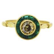 Beautiful French Brown Diamond target ring, 18kt gold, circa 1925