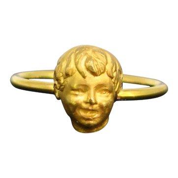 Antique Victorian Cherub Child Ring, 18kt yellow gold, circa 1880