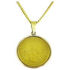Dukat Czechoslovakia Republik Coin Gold Pendant, 18kt and 22kt yellow gold, 1924