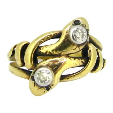 Antique Victorian Snakes Diamonds ring, 18kt yellow gold, circa 1880