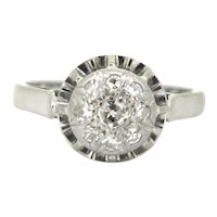 Diamonds Cluster Daisy Ring, 18kt white gold and platinum, France, circa 1930