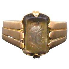 Antique Victorian Carved Smoky Quartz Cameo Rose Gold Ring, France circa 1880