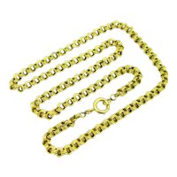 Antique Victorian Triple Flat Links Chain Necklace, 24 inches, 18kt yellow gold, France, circa 1880